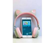 Беспроводные наушники с кошачьими ушками Wireless Headphones Cat Ear LED032 Серо-розовые