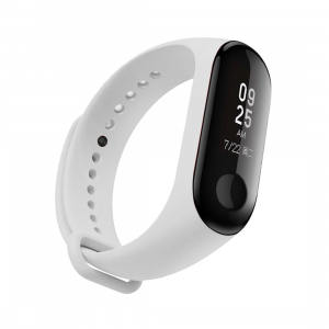 Ремешок силиконовый для фитнес трекера Xiaomi Mi Band 3 (белый)