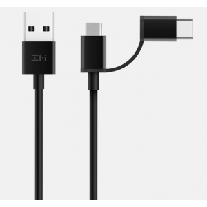 Кабель 2in1 USB Type-C/Micro Xiaomi ZMI 30см (AL511) Black
