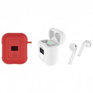 Беспроводные наушники Hoco S11 Melody с белым зарядным кейсом (красный чехол)