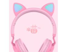 Беспроводные наушники с кошачьими ушками Wireless Headphones Cat Ear LED032 Розовые