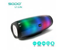 Универсальная мультимедиа стерео колонка с пульсирующей LED подсветкой Sodo L1 life белая