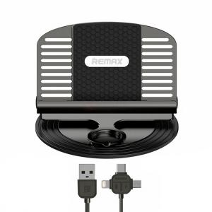 Автомобильный держатель для телефона Remax 3 в 1. Micro usb, type-c, iphone (Черный)