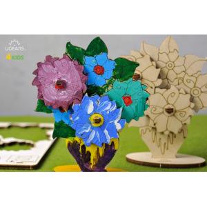 Деревянная модель-раскраска для детей UGears 4Kids Букет цветов